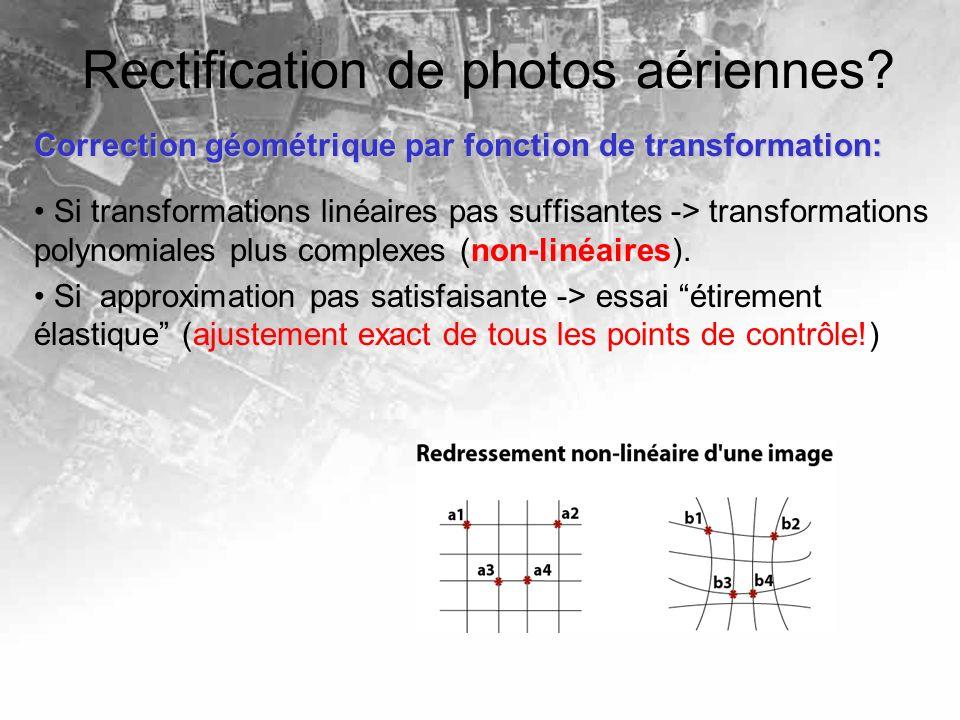 Rectification de photos aériennes? Correction géométrique par fonction de transformation: Si transformations linéaires pas suffisantes -> transformati