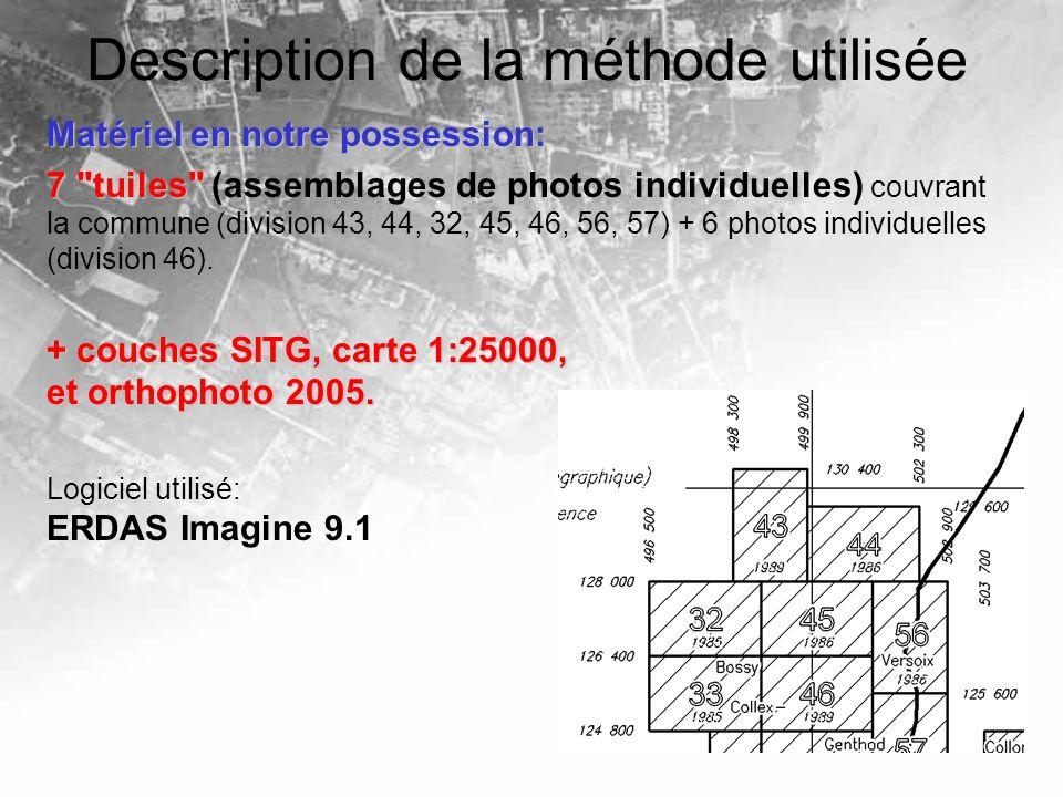 Description de la méthode utilisée Matériel en notre possession: 7 tuiles 7 tuiles (assemblages de photos individuelles) couvrant la commune (division 43, 44, 32, 45, 46, 56, 57) + 6 photos individuelles (division 46).