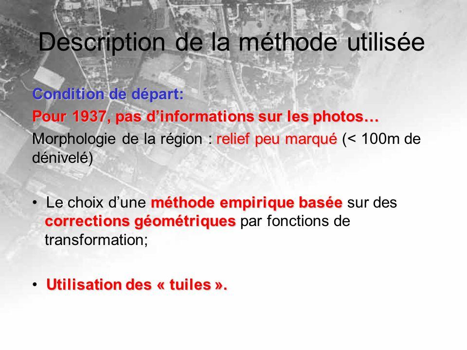 Description de la méthode utilisée Condition de départ: Pour 1937, pas dinformations sur les photos… relief peu marqué Morphologie de la région : reli