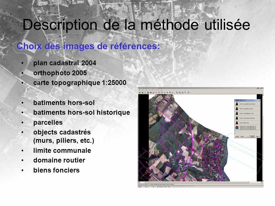 Description de la méthode utilisée Choix des images de références: plan cadastral 2004 orthophoto 2005 carte topographique 1:25000 batiments hors-sol