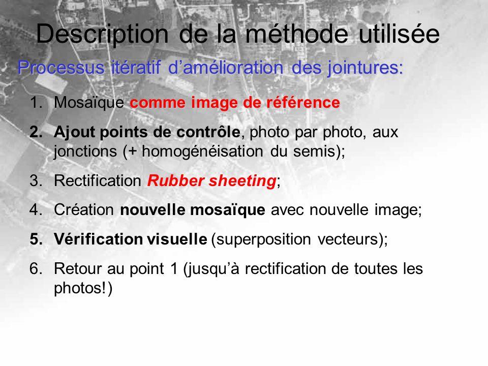 Description de la méthode utilisée Processus itératif damélioration des jointures: comme image de référence 1.Mosaïque comme image de référence 2.Ajout points de contrôle, photo par photo, aux jonctions (+ homogénéisation du semis); 3.Rectification Rubber sheeting; 4.Création nouvelle mosaïque avec nouvelle image; 5.Vérification visuelle (superposition vecteurs); 6.Retour au point 1 (jusquà rectification de toutes les photos!)