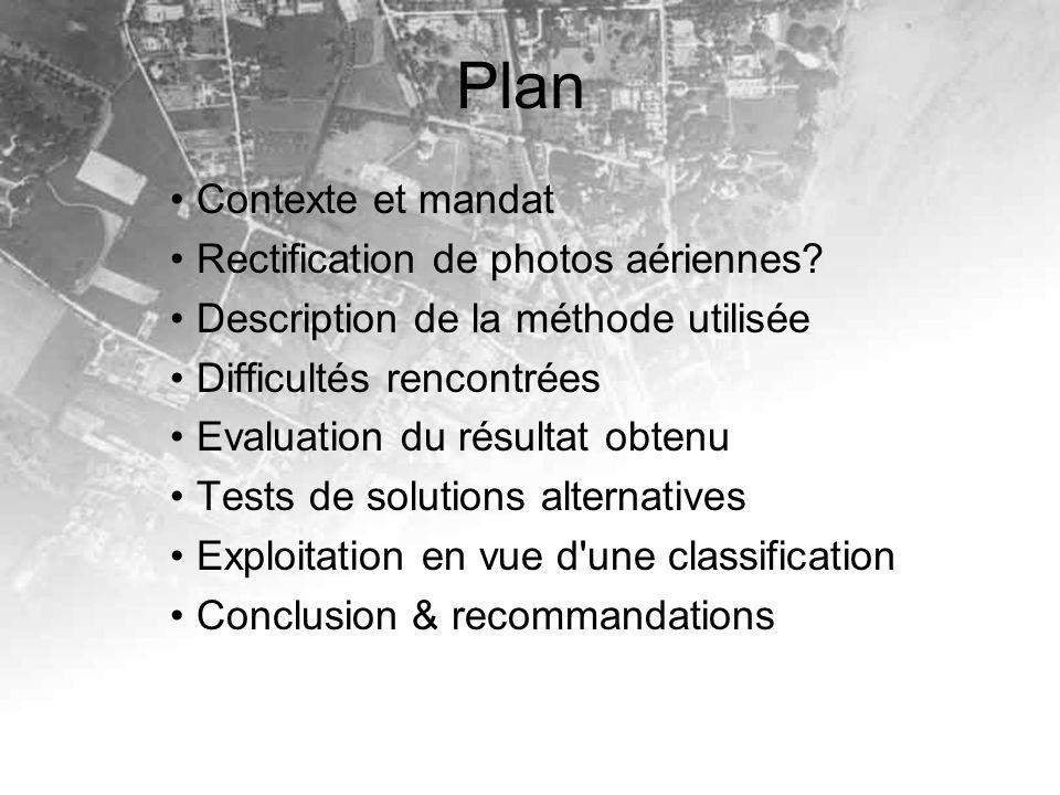 Plan Contexte et mandat Rectification de photos aériennes? Description de la méthode utilisée Difficultés rencontrées Evaluation du résultat obtenu Te