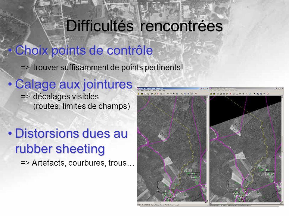 Difficultés rencontrées Choix points de contrôleChoix points de contrôle => trouver suffisamment de points pertinents.