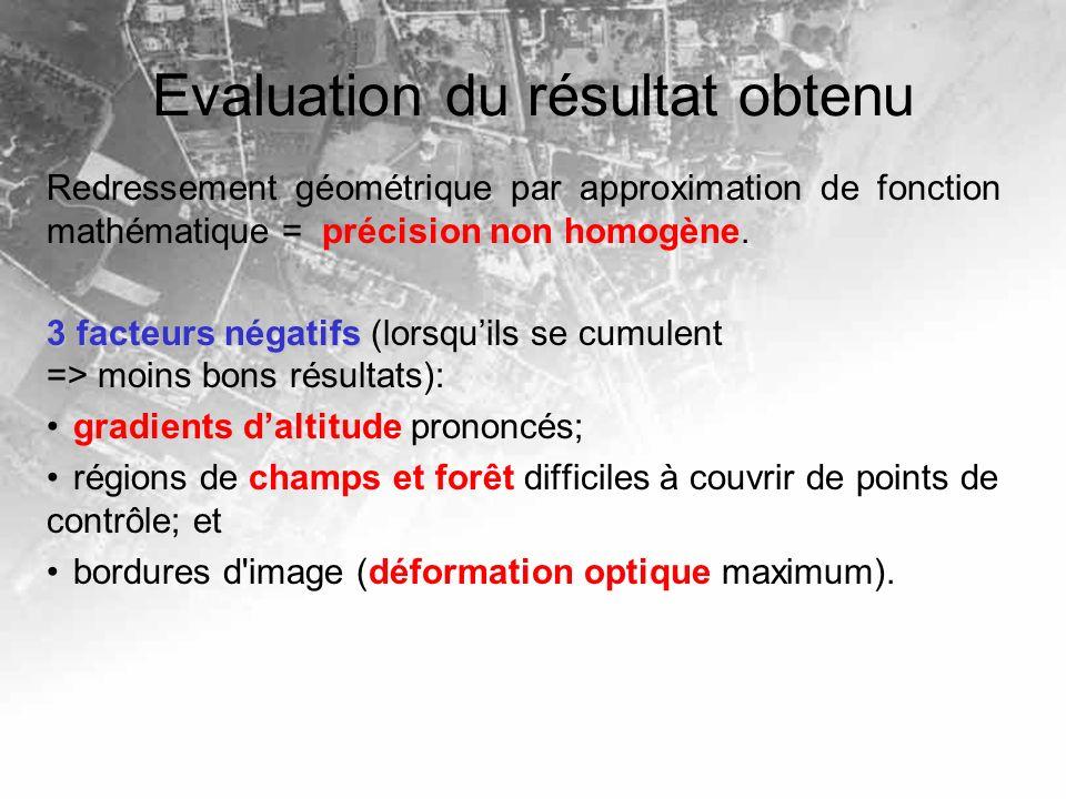 Evaluation du résultat obtenu Redressement géométrique par approximation de fonction mathématique = précision non homogène. 3 facteurs négatifs 3 fact