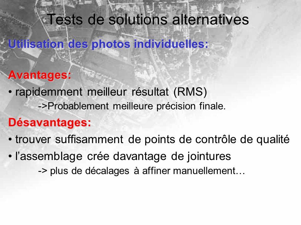 Tests de solutions alternatives Utilisation des photos individuelles: Avantages: rapidemment meilleur résultat (RMS) ->Probablement meilleure précisio