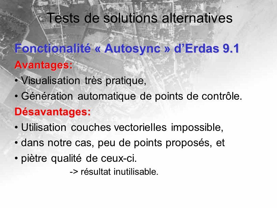 Tests de solutions alternatives Fonctionalité « Autosync » dErdas 9.1 Avantages: Visualisation très pratique, Génération automatique de points de contrôle.Désavantages: Utilisation couches vectorielles impossible, dans notre cas, peu de points proposés, et piètre qualité de ceux-ci.