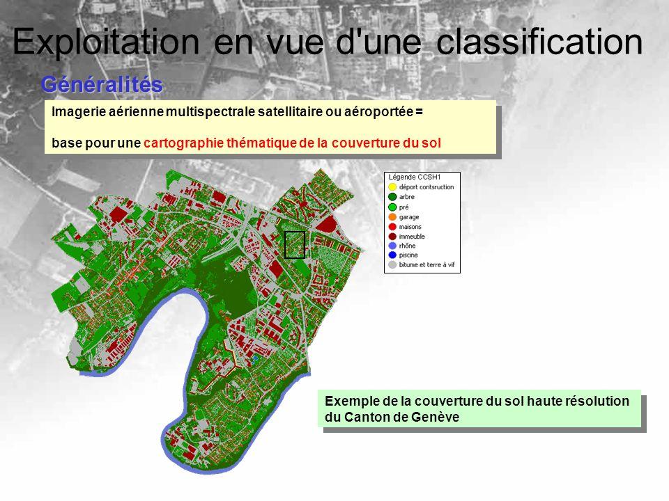 Généralités Exploitation en vue d'une classification Imagerie aérienne multispectrale satellitaire ou aéroportée = base pour une cartographie thématiq