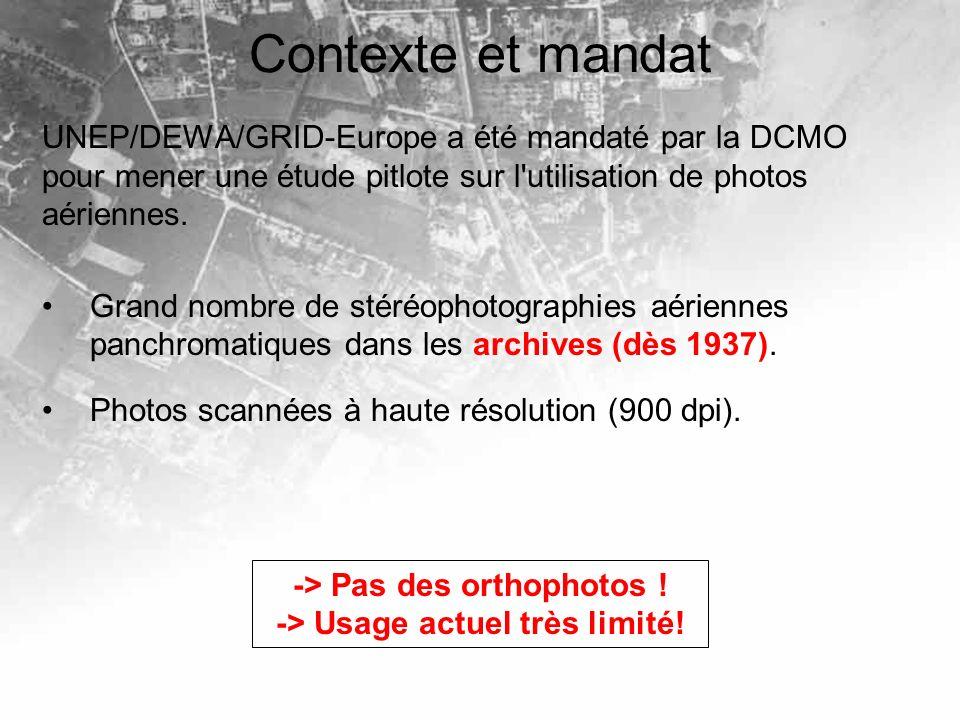 Contexte et mandat UNEP/DEWA/GRID-Europe a été mandaté par la DCMO pour mener une étude pitlote sur l utilisation de photos aériennes.