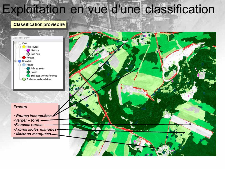 Exploitation en vue d'une classification Classification provisoire Erreurs Routes incomplètes Verger = forêt Fausses routes Arbres isolés manqués Mais