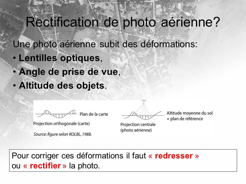 Rectification de photo aérienne? Une photo aérienne subit des déformations: Lentilles optiques, Angle de prise de vue, Altitude des objets. Pour corri