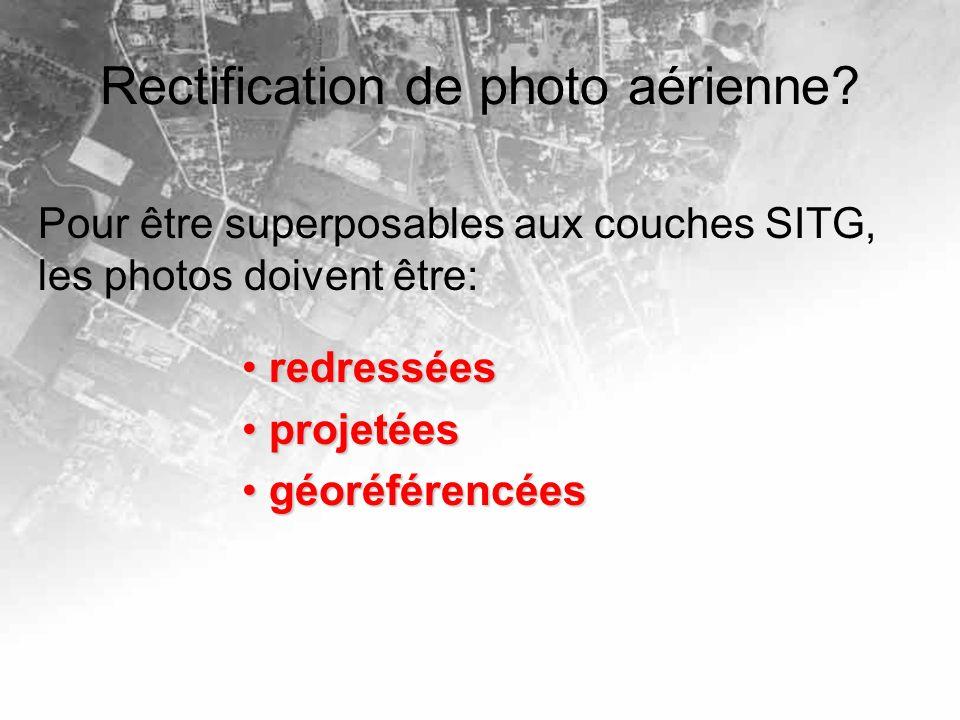 Rectification de photo aérienne? Pour être superposables aux couches SITG, les photos doivent être: redressées redressées projetées projetées géoréfér
