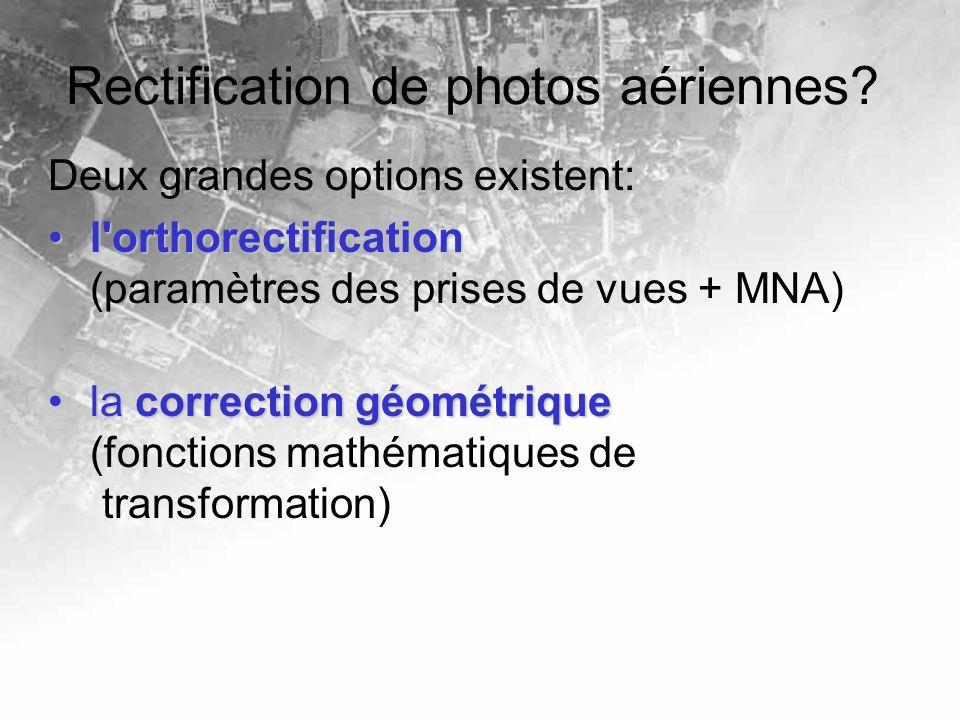 Rectification de photos aériennes? Deux grandes options existent: l'orthorectificationl'orthorectification (paramètres des prises de vues + MNA) la co