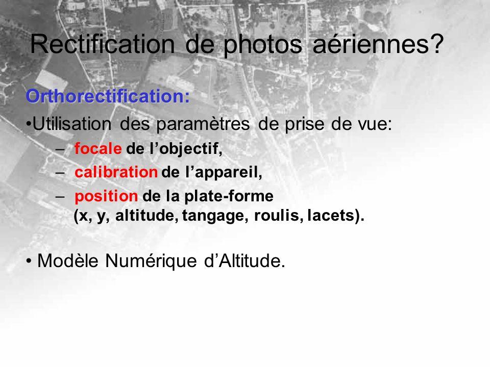 Rectification de photos aériennes? Orthorectification: Utilisation des paramètres de prise de vue: – focale de lobjectif, – calibration de lappareil,