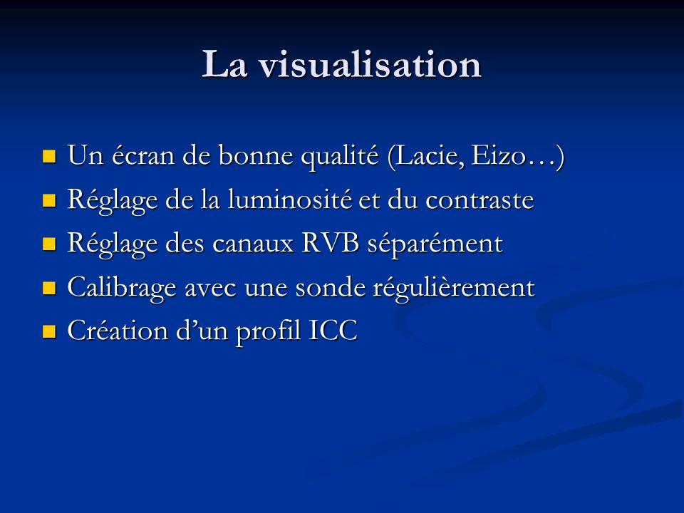 La visualisation Un écran de bonne qualité (Lacie, Eizo…) Un écran de bonne qualité (Lacie, Eizo…) Réglage de la luminosité et du contraste Réglage de