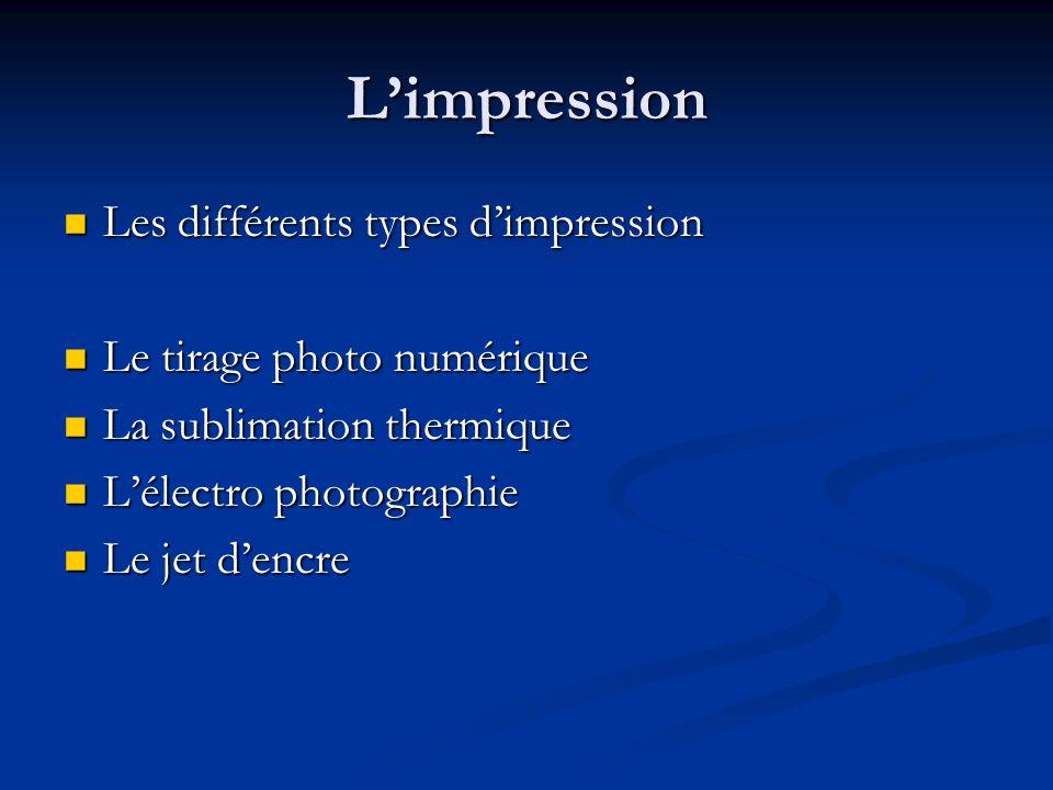 Limpression Les différents types dimpression Les différents types dimpression Le tirage photo numérique Le tirage photo numérique La sublimation therm