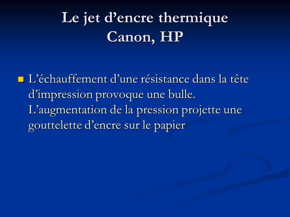 Le jet dencre thermique Canon, HP Léchauffement dune résistance dans la tête dimpression provoque une bulle. Laugmentation de la pression projette une