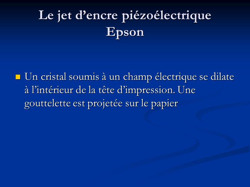 Le jet dencre piézoélectrique Epson Un cristal soumis à un champ électrique se dilate à lintérieur de la tête dimpression. Une gouttelette est projeté