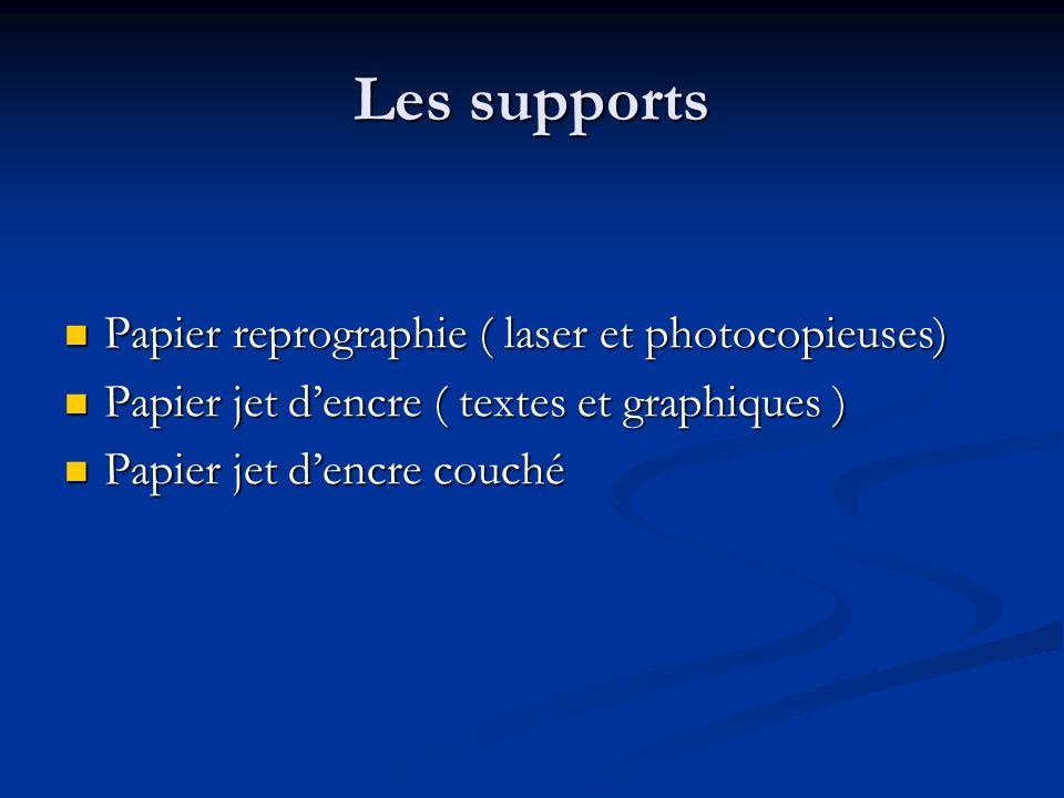 Les supports Papier reprographie ( laser et photocopieuses) Papier reprographie ( laser et photocopieuses) Papier jet dencre ( textes et graphiques )