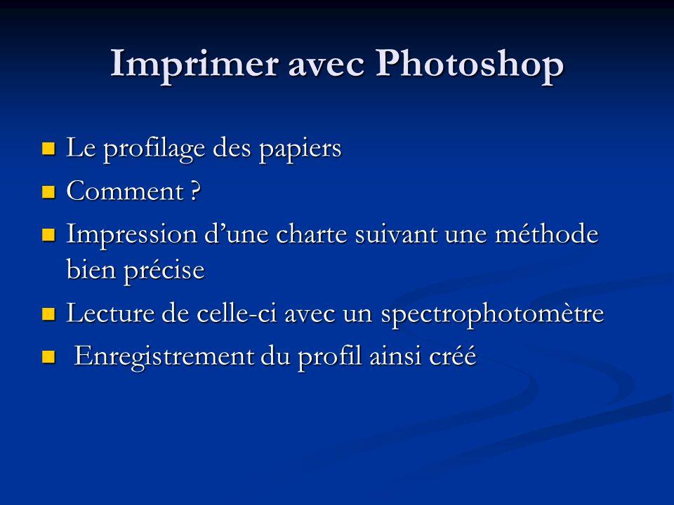 Imprimer avec Photoshop Le profilage des papiers Le profilage des papiers Comment ? Comment ? Impression dune charte suivant une méthode bien précise