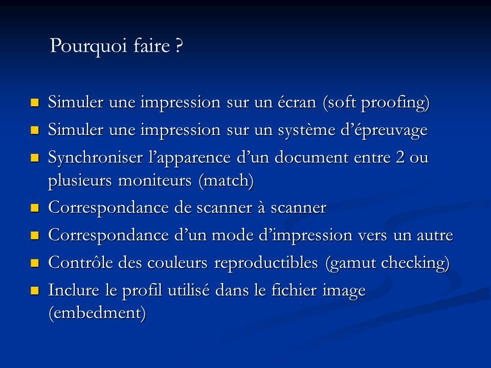 Simuler une impression sur un écran (soft proofing) Simuler une impression sur un écran (soft proofing) Simuler une impression sur un système dépreuva