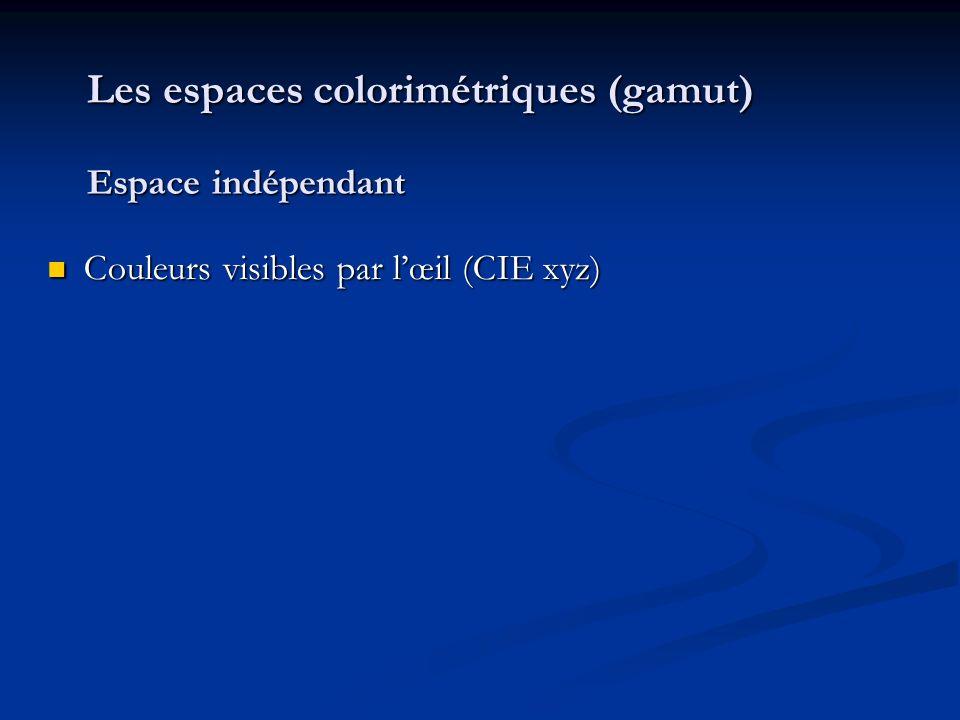 Les espaces colorimétriques (gamut) Espace indépendant Couleurs visibles par lœil (CIE xyz) Couleurs visibles par lœil (CIE xyz)