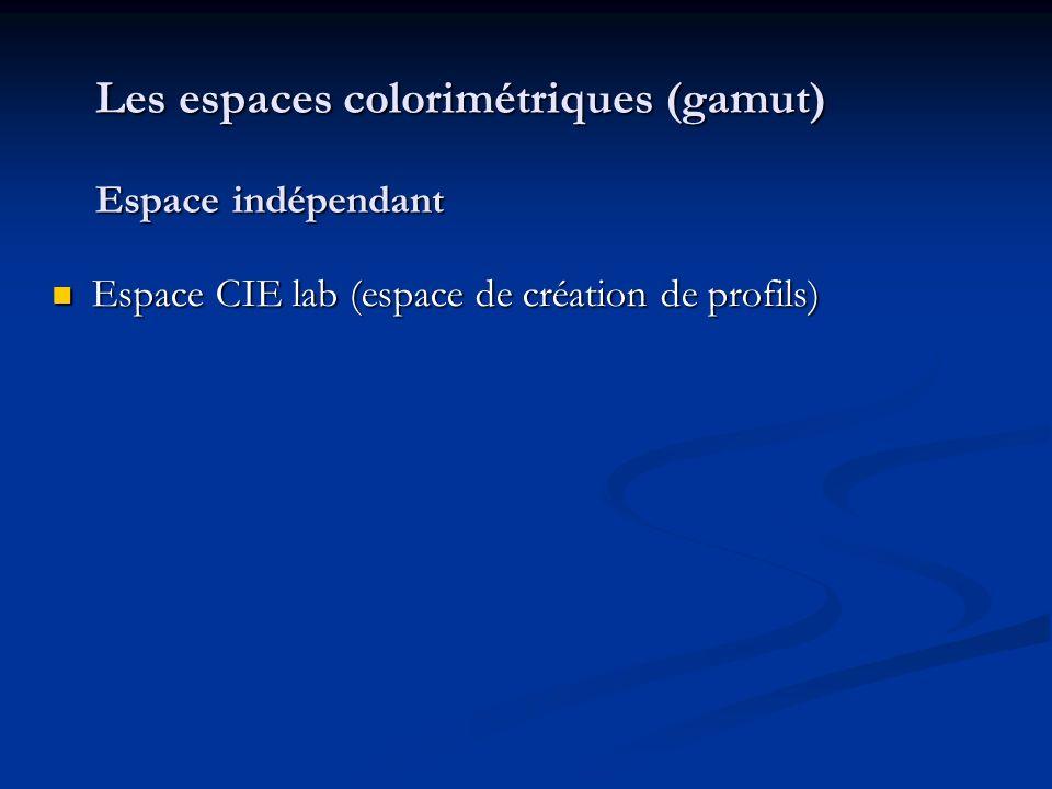 Les espaces colorimétriques (gamut) Espace indépendant Espace CIE lab (espace de création de profils) Espace CIE lab (espace de création de profils)
