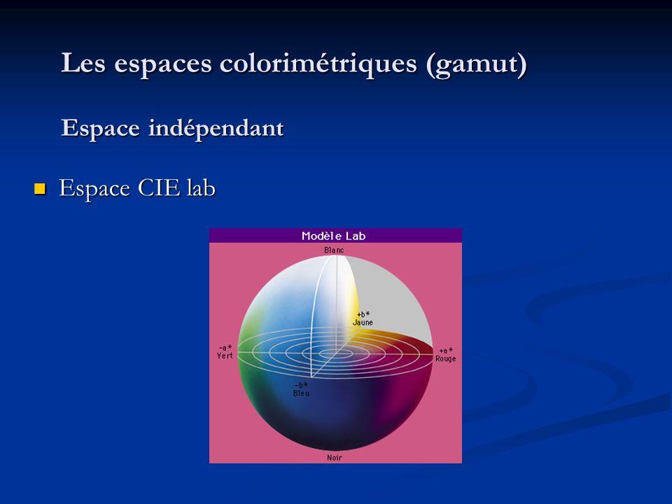 Les espaces colorimétriques (gamut) Espace indépendant Espace CIE lab Espace CIE lab