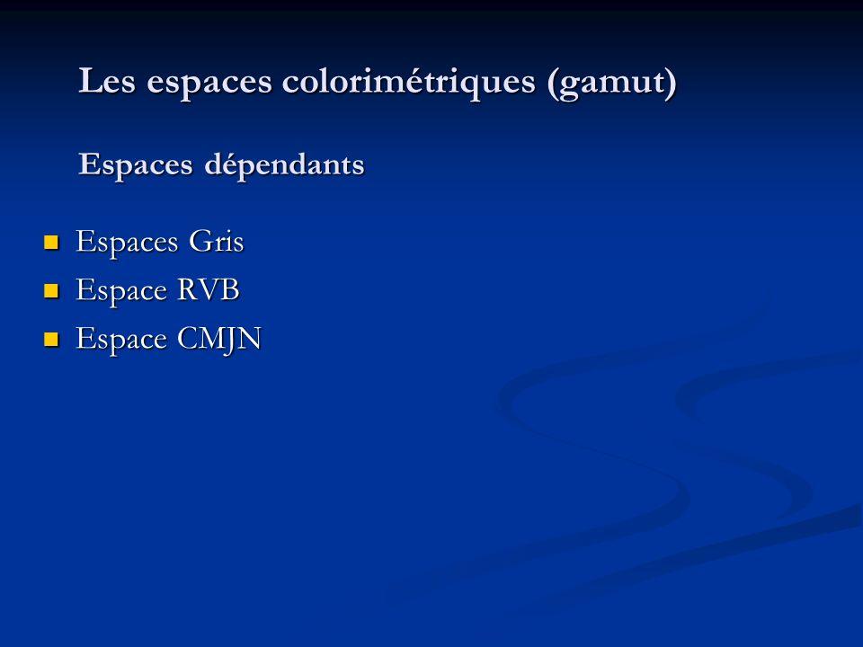 Les espaces colorimétriques (gamut) Espaces dépendants Espaces Gris Espaces Gris Espace RVB Espace RVB Espace CMJN Espace CMJN