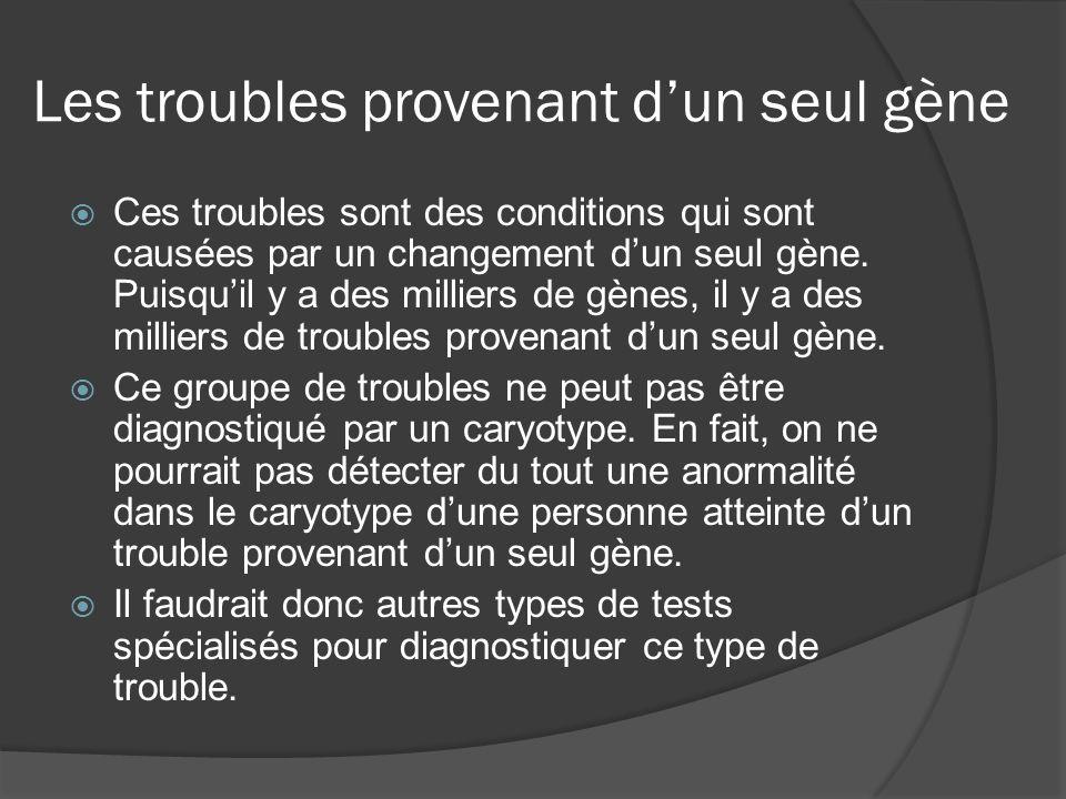 Les troubles provenant dun seul gène Ces troubles sont des conditions qui sont causées par un changement dun seul gène. Puisquil y a des milliers de g