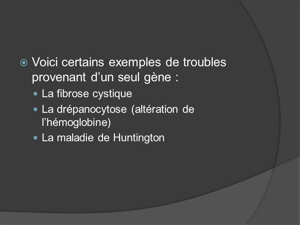 Voici certains exemples de troubles provenant dun seul gène : La fibrose cystique La drépanocytose (altération de lhémoglobine) La maladie de Huntingt
