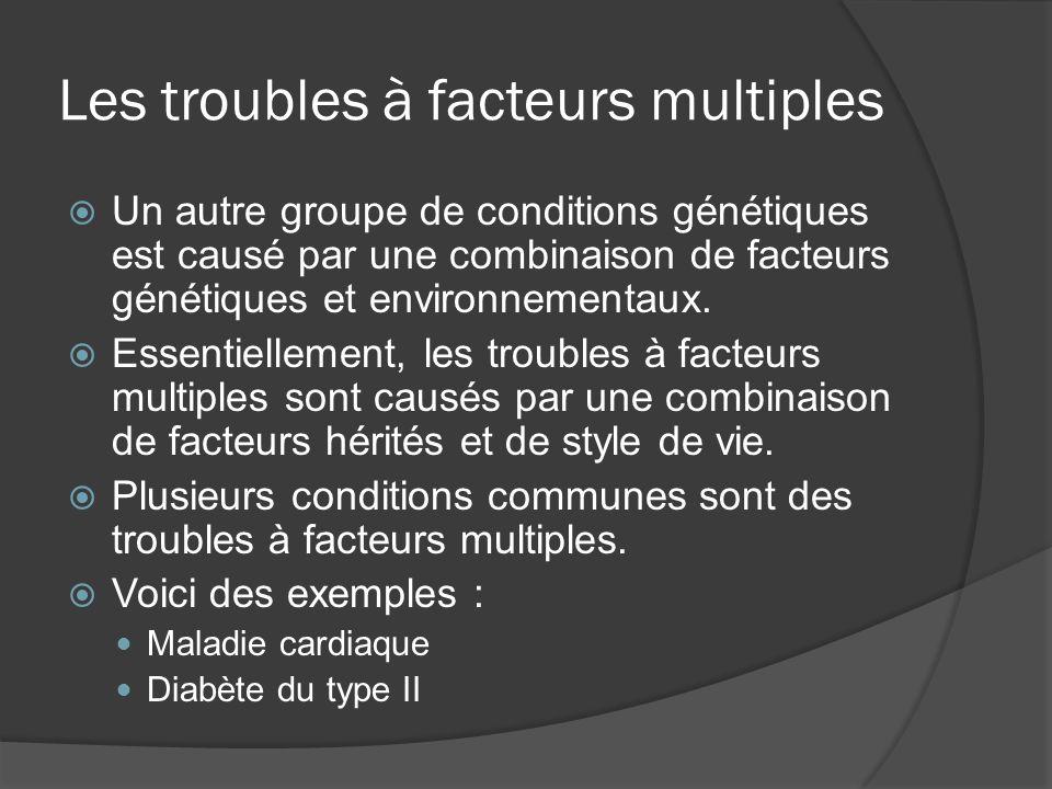 Les troubles à facteurs multiples Un autre groupe de conditions génétiques est causé par une combinaison de facteurs génétiques et environnementaux. E