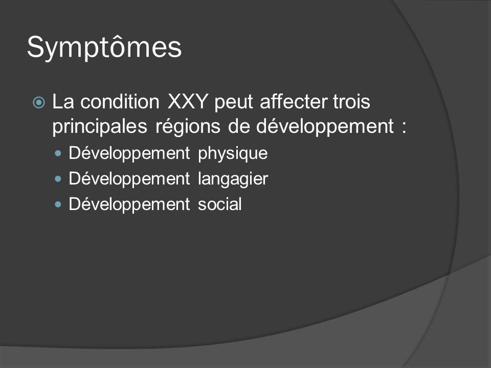 Symptômes La condition XXY peut affecter trois principales régions de développement : Développement physique Développement langagier Développement soc