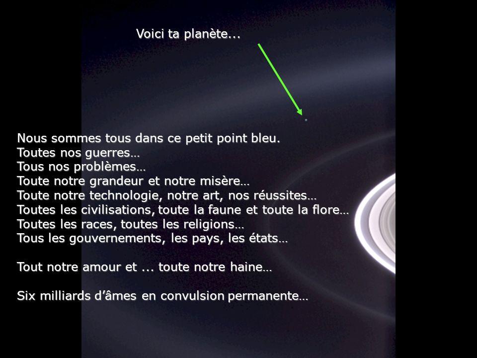 Considère un instant cette photo... Elle fut prise par Cassini-Huygens, une navette spatiale automatique, en 2004, quand elle atteignit les anneaux de
