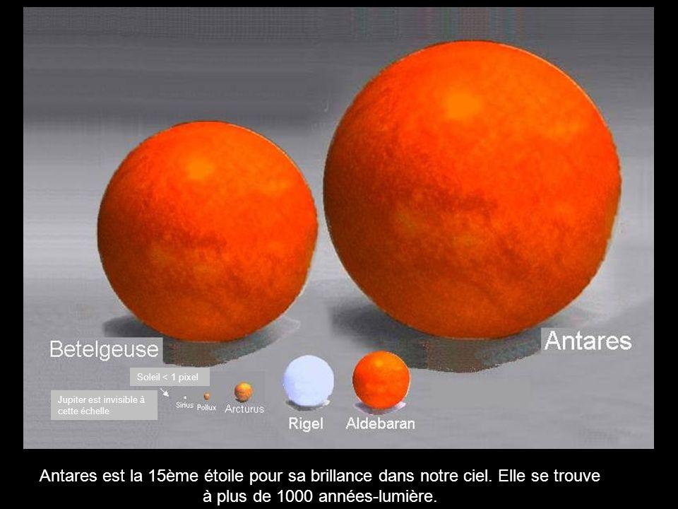 Antares est la 15ème étoile pour sa brillance dans notre ciel.