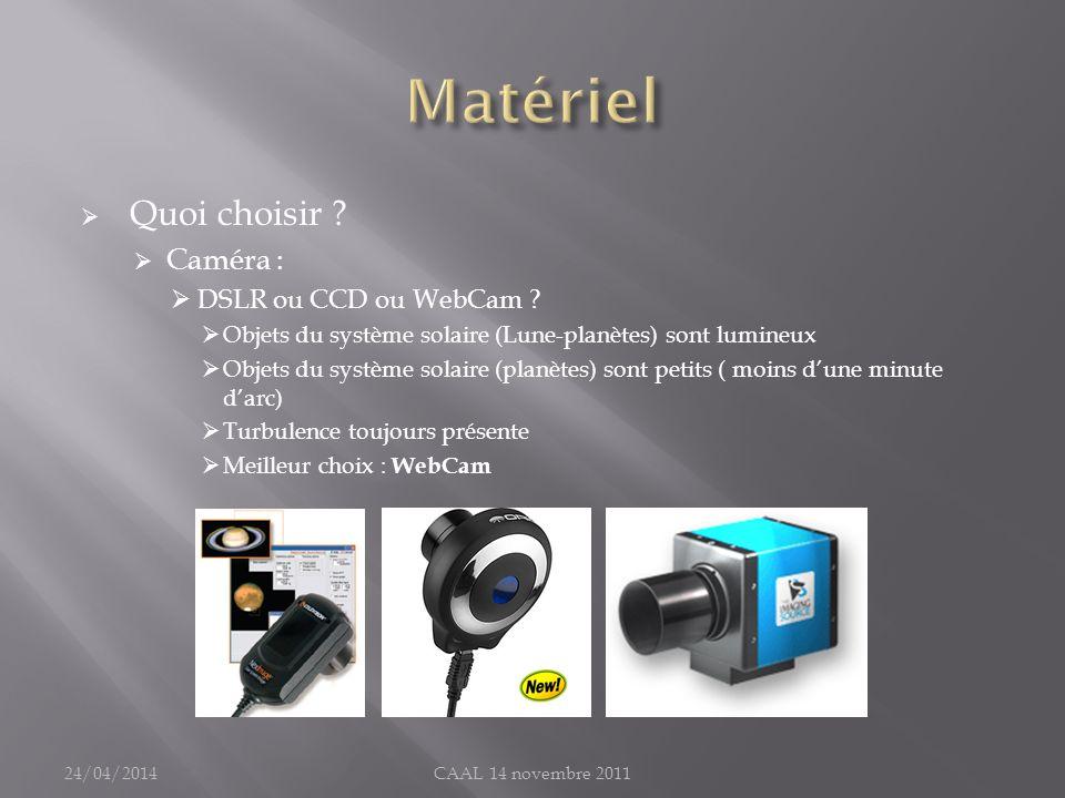 Quoi choisir ? Caméra : DSLR ou CCD ou WebCam ? Objets du système solaire (Lune-planètes) sont lumineux Objets du système solaire (planètes) sont peti