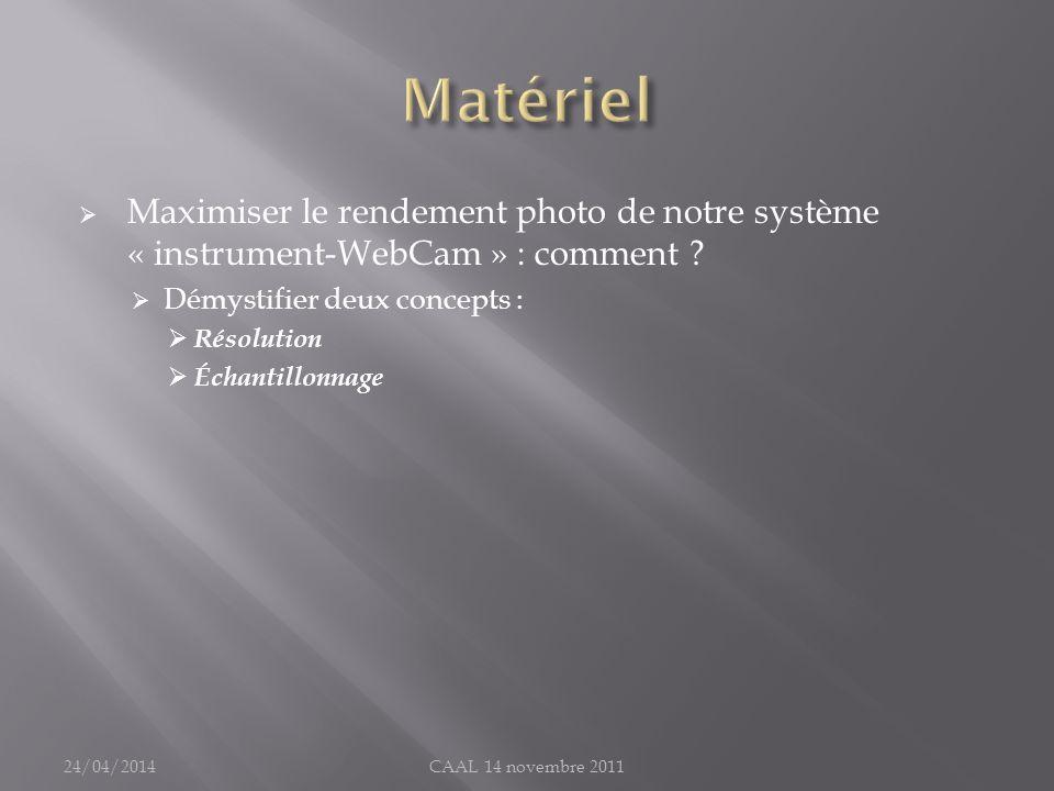 Maximiser le rendement photo de notre système « instrument-WebCam » : comment ? Démystifier deux concepts : Résolution Échantillonnage 24/04/2014CAAL