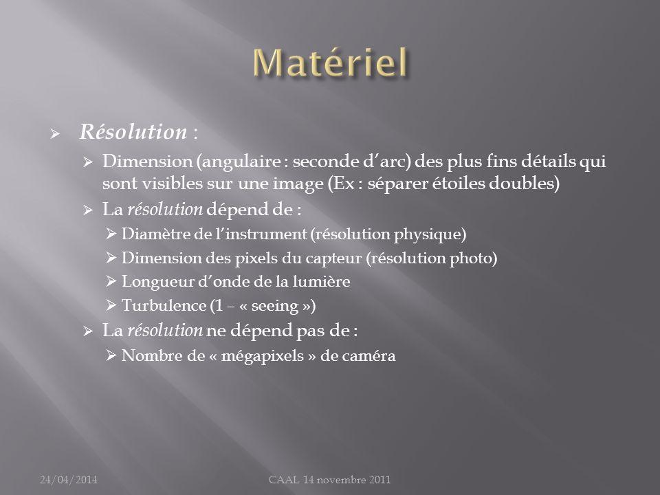Résolution : Dimension (angulaire : seconde darc) des plus fins détails qui sont visibles sur une image (Ex : séparer étoiles doubles) La résolution d