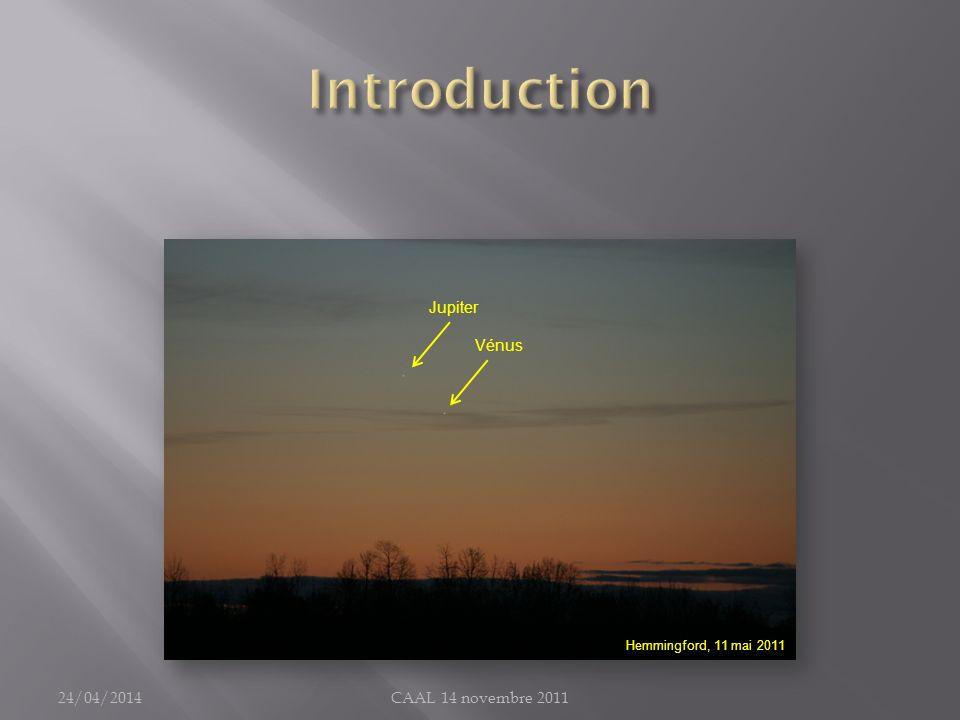 Une fois TOUT léquipement installé (caméra et accessoires compris) : Alignement instrument principal et chercheur (visée sur objet fixe lointain); Mise à niveau de la monture (utile pour simplifier lalignement polaire); Balancement de linstrument selon les deux axes (Ascension droite et déclinaison); Alignement polaire « soigné », sinon dérive sensible durant la prise vidéo; Mise en marche du système Gemini V.4; Date, heure, coordonnées GPS du site, … Star Align : calibration du modèle de repérage GO TO; Vérification de lalignement « instrument-chercheur » : pointé sur DSO facilement identifiables (étoile connue, amas globulaire, …); Vérification de la collimation de linstrument, au besoin (surtout pour Newton ou SCT); 24/04/2014CAAL 14 novembre 2011