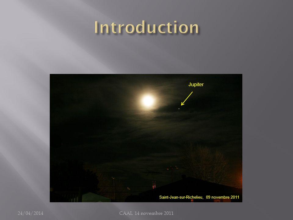 Time Limit : exemple de calcul Lunette 127mm et Jupiter S : bougé maximal toléré au centre du disque de la planète : 0,475 seconde darc (résolution/2 = 0,95 /2 = 0,475 ) R : période de rotation de Jupiter : 9 h 55 m = 9,92 h D : diamètre apparent de Jupiter (opposition): 45 secondes darc On calcule : T = 120 secondes = 2 minutes 24/04/2014CAAL 14 novembre 2011