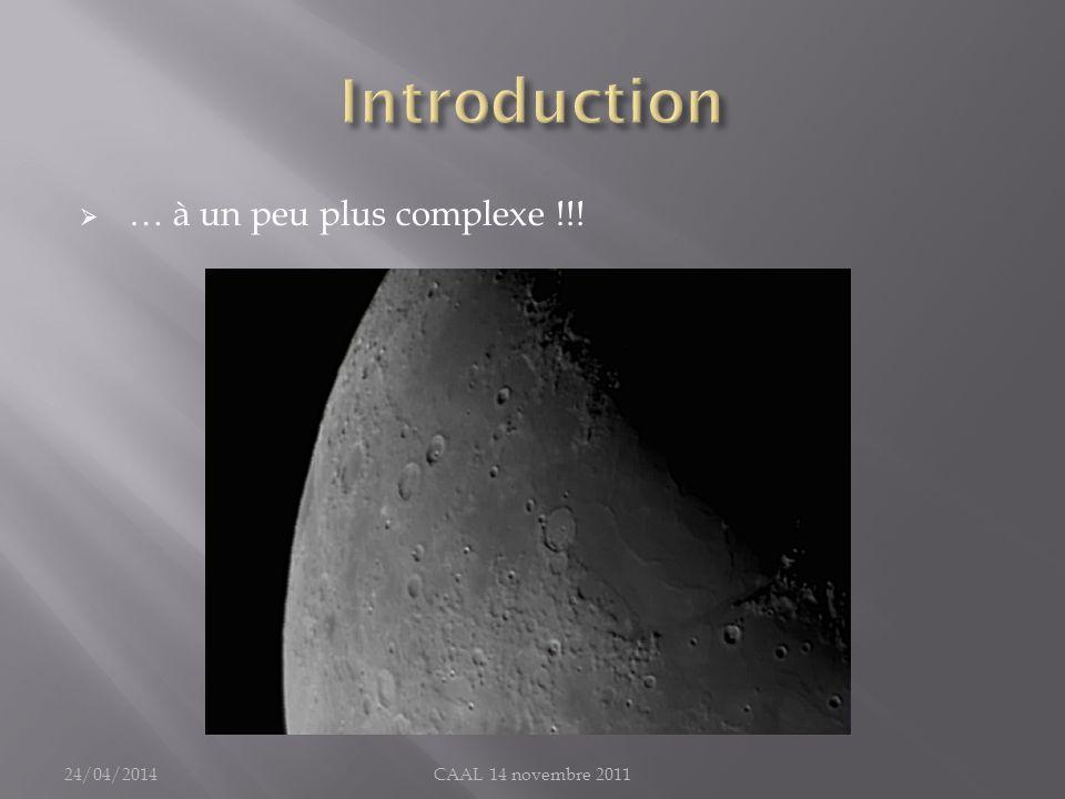 Résolution photo : échantillonnage Pour un télescope et une caméra donnés : La surface totale du capteur détermine la grandeur du champ photographié (mesuré en seconde darc) La dimension dun pixel détermine l échantillonnage (seconde darc/pixel) 24/04/2014CAAL 14 novembre 2011