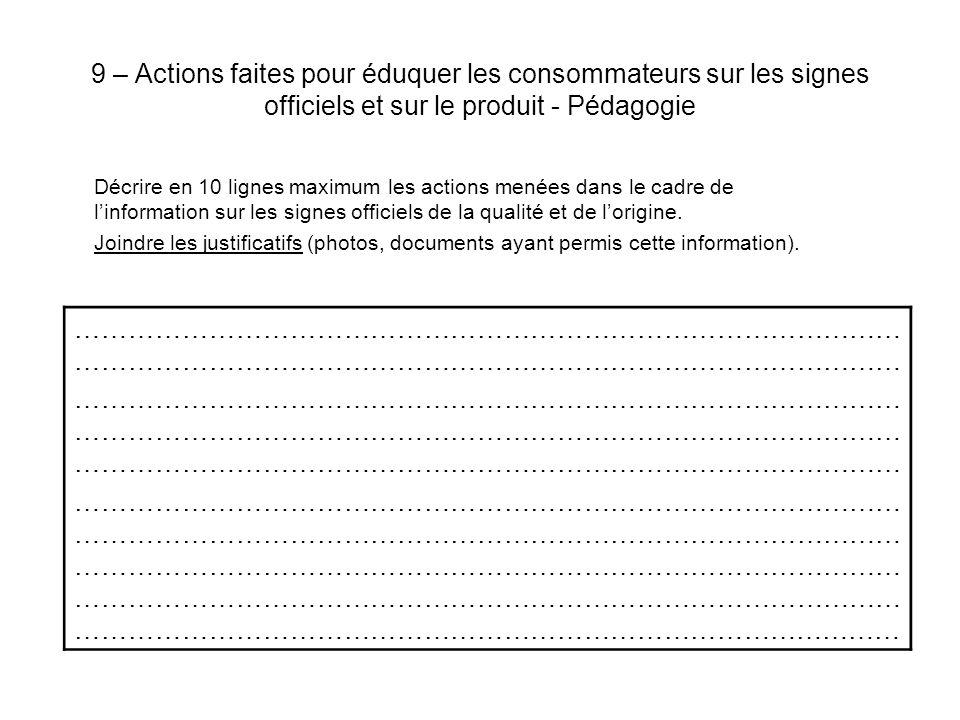 9 – Actions faites pour éduquer les consommateurs sur les signes officiels et sur le produit - Pédagogie Décrire en 10 lignes maximum les actions menées dans le cadre de linformation sur les signes officiels de la qualité et de lorigine.