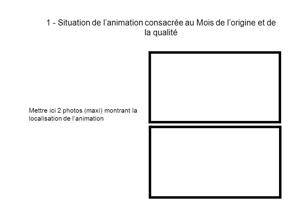 1 - Situation de lanimation consacrée au Mois de lorigine et de la qualité Mettre ici 2 photos (maxi) montrant la localisation de lanimation