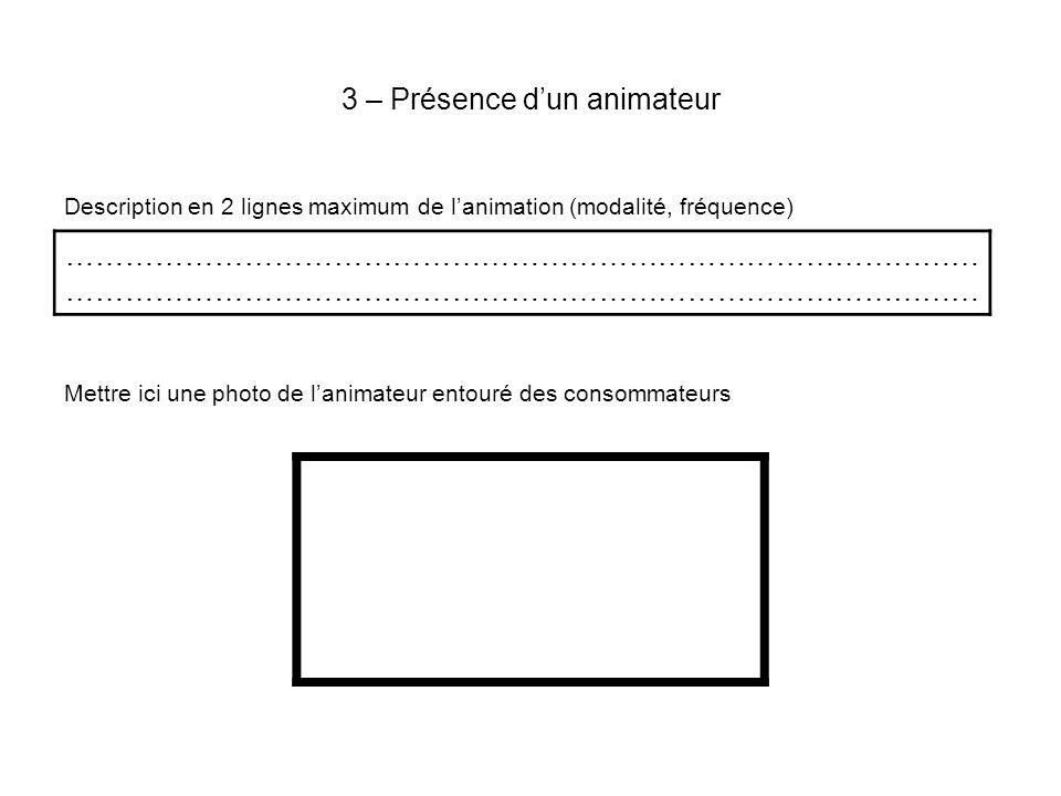 3 – Présence dun animateur Description en 2 lignes maximum de lanimation (modalité, fréquence) Mettre ici une photo de lanimateur entouré des consommateurs …………………………………………………………………………………
