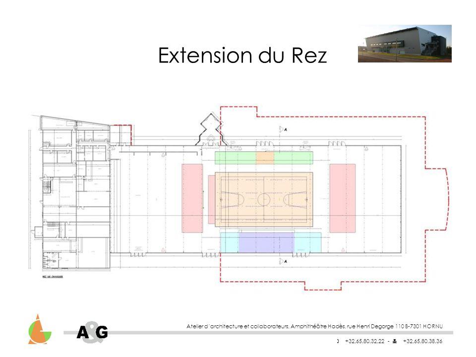 Atelier darchitecture et collaborateurs, Amphithéâtre Hadès, rue Henri Degorge 110 B-7301 HORNU +32.65.80.32.22 - +32.65.80.38.36 Extension du Rez