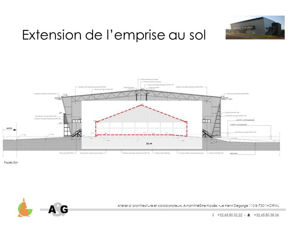 Atelier darchitecture et collaborateurs, Amphithéâtre Hadès, rue Henri Degorge 110 B-7301 HORNU +32.65.80.32.22 - +32.65.80.38.36 Extension de lemprise au sol