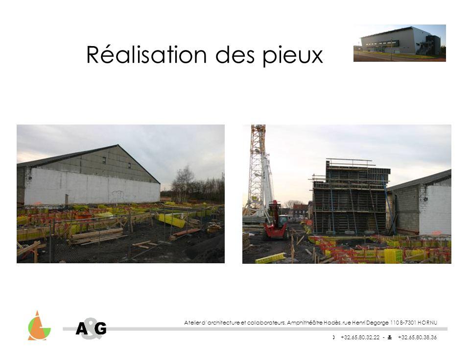 Atelier darchitecture et collaborateurs, Amphithéâtre Hadès, rue Henri Degorge 110 B-7301 HORNU +32.65.80.32.22 - +32.65.80.38.36 Réalisation des pieux