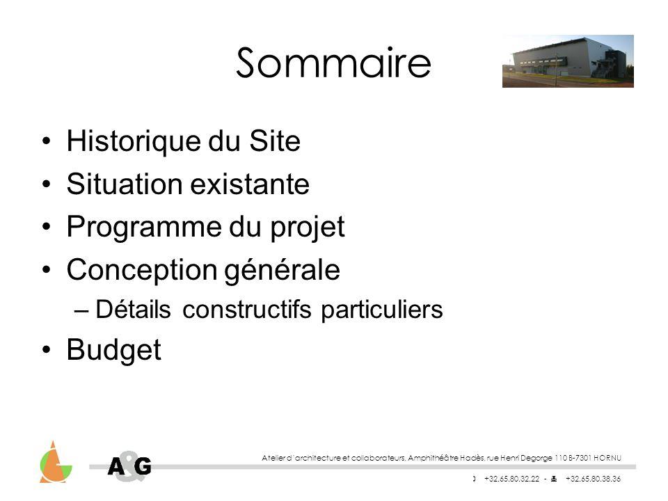 Atelier darchitecture et collaborateurs, Amphithéâtre Hadès, rue Henri Degorge 110 B-7301 HORNU +32.65.80.32.22 - +32.65.80.38.36 Sommaire Programme du projet