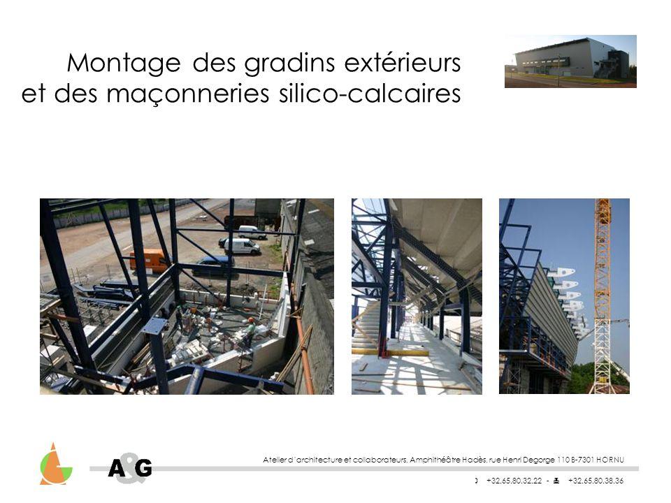 Atelier darchitecture et collaborateurs, Amphithéâtre Hadès, rue Henri Degorge 110 B-7301 HORNU +32.65.80.32.22 - +32.65.80.38.36 Montage des gradins extérieurs et des maçonneries silico-calcaires