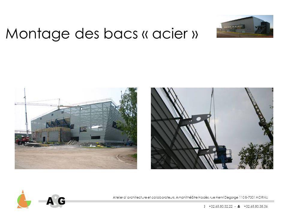 Atelier darchitecture et collaborateurs, Amphithéâtre Hadès, rue Henri Degorge 110 B-7301 HORNU +32.65.80.32.22 - +32.65.80.38.36 Montage des bacs « acier »