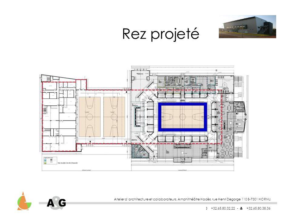 Atelier darchitecture et collaborateurs, Amphithéâtre Hadès, rue Henri Degorge 110 B-7301 HORNU +32.65.80.32.22 - +32.65.80.38.36 Rez projeté